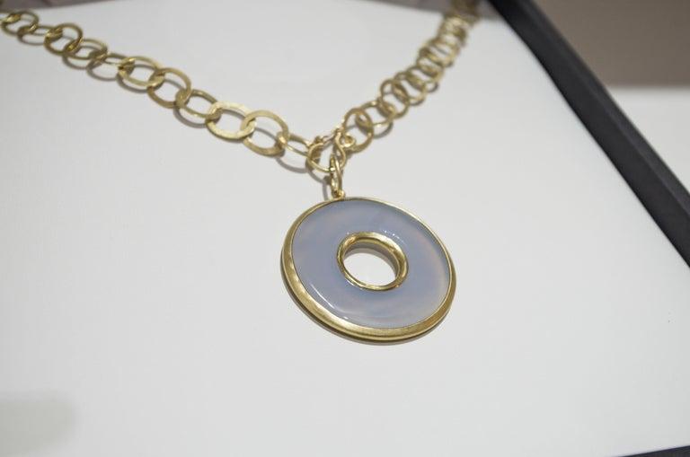 Round Cut Faye Kim 18 Karat Gold Chalcedony Circle Pendant Necklace For Sale