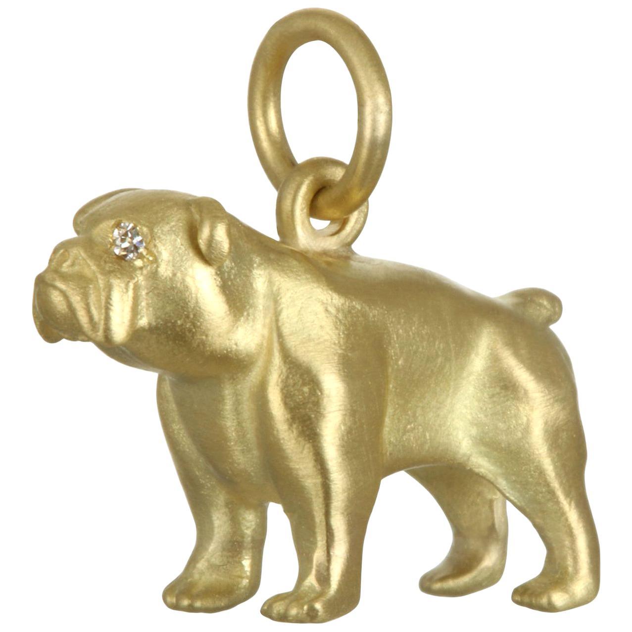 Faye Kim 18 Karat Gold Charm Necklace, English Bulldog with Diamond Eyes