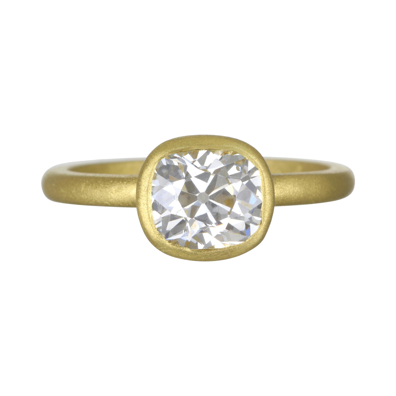 Faye Kim 18 Karat Gold Cushion Cut Diamond Engagement Ring