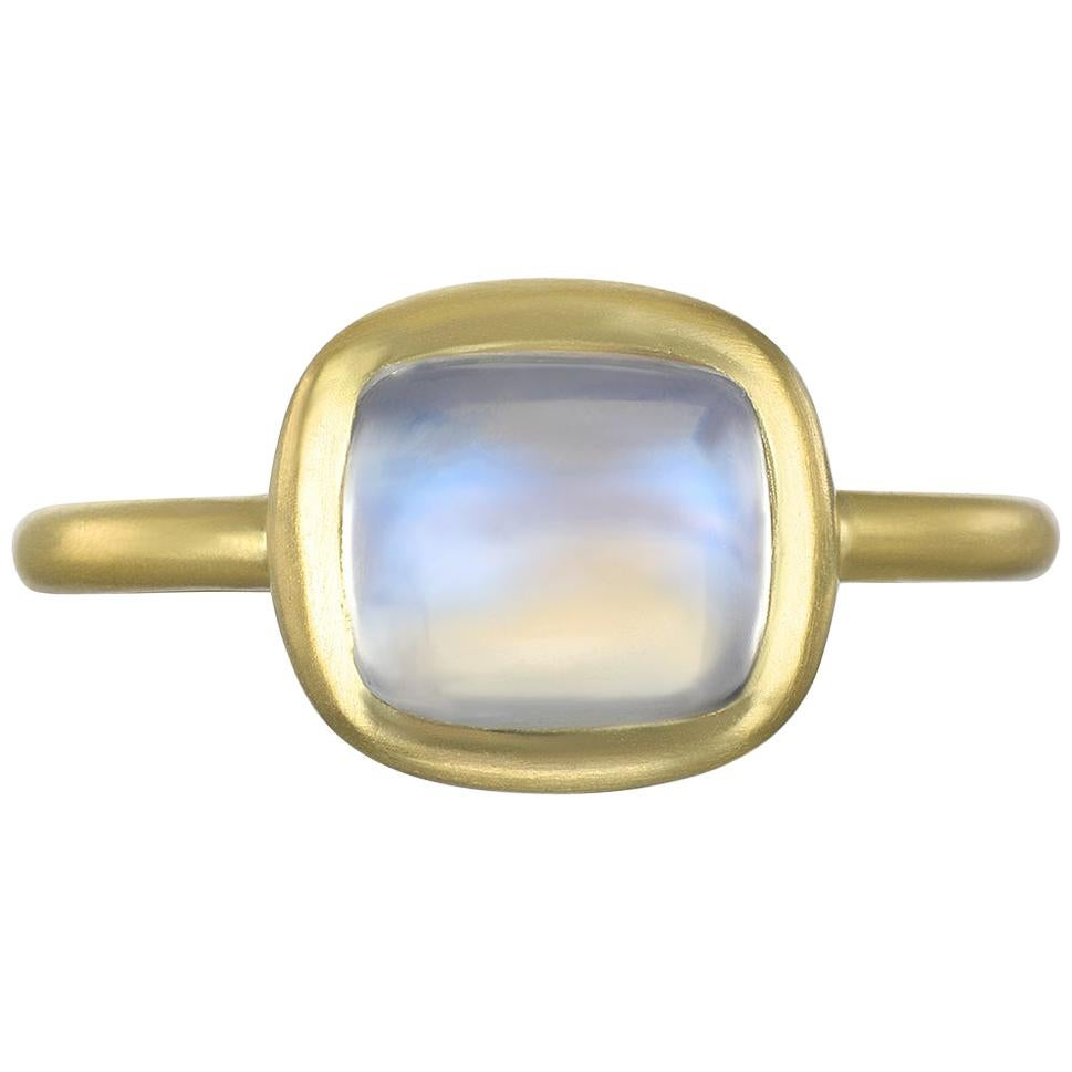 Faye Kim 18 Karat Gold Cushion Cut Moonstone Ring