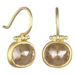 Faye Kim 18 Karat Gold Cushion Cut Raw Diamond Hinge Drop Earrings