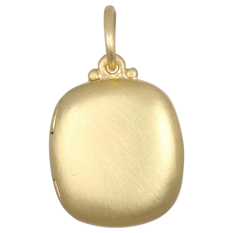 Faye Kim 18 Karat Gold Cushion Shaped Locket