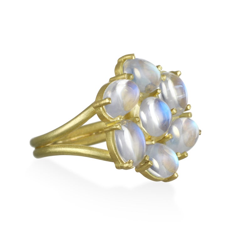 Beauty and comfort come together in the Ceylon blue moonstone ring. Known for its adularescence, the blue flash from Ceylon moonstones adds to the overall mystique surrounding moonstones.   Split shank.   Matte finish.  Diameter: 3/4 inch