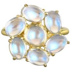 Faye Kim 18 Karat Gold Ceylon Moonstone Daisy Ring
