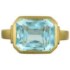 Faye Kim 18 Karat Gold Diamond and Aquamarine Cushion Cut Cocktail Ring