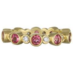Faye Kim 18 Karat Gold Diamond and Pink Tourmaline Eternity Band Ring