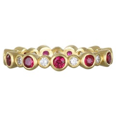 Faye Kim 18 Karat Gold Diamond and Ruby Eternity Band Ring