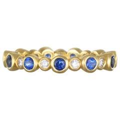 Faye Kim 18 Karat Gold Diamond and Sapphire Eternity Band Ring