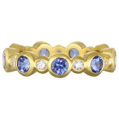 Faye Kim 18 Karat Gold Diamond and Tanzanite Eternity Ring
