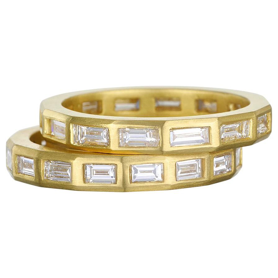 Faye Kim 18 Karat Gold Diamond Baguette Eternity Stack Ring