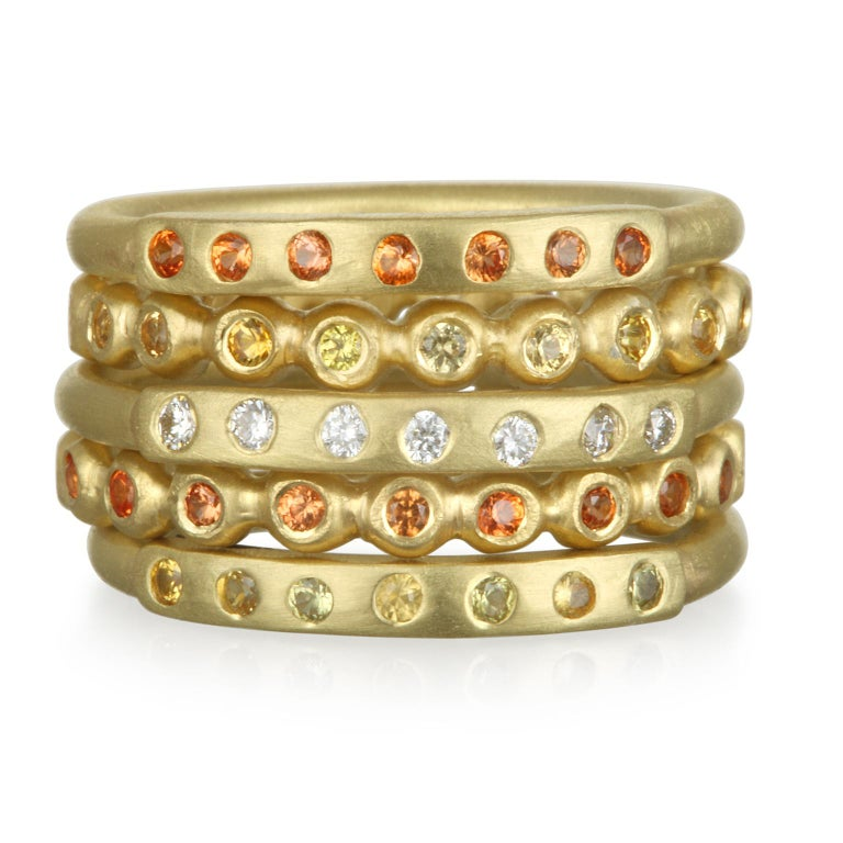 Contemporary Faye Kim 18 Karat Gold Diamond Bar Stack Ring For Sale