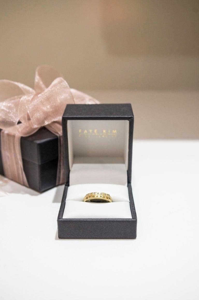 Round Cut Faye Kim 18 Karat Gold Diamond Bar Stack Ring For Sale