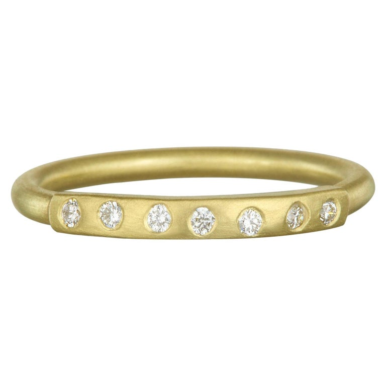Faye Kim 18 Karat Gold Diamond Bar Stack Ring For Sale