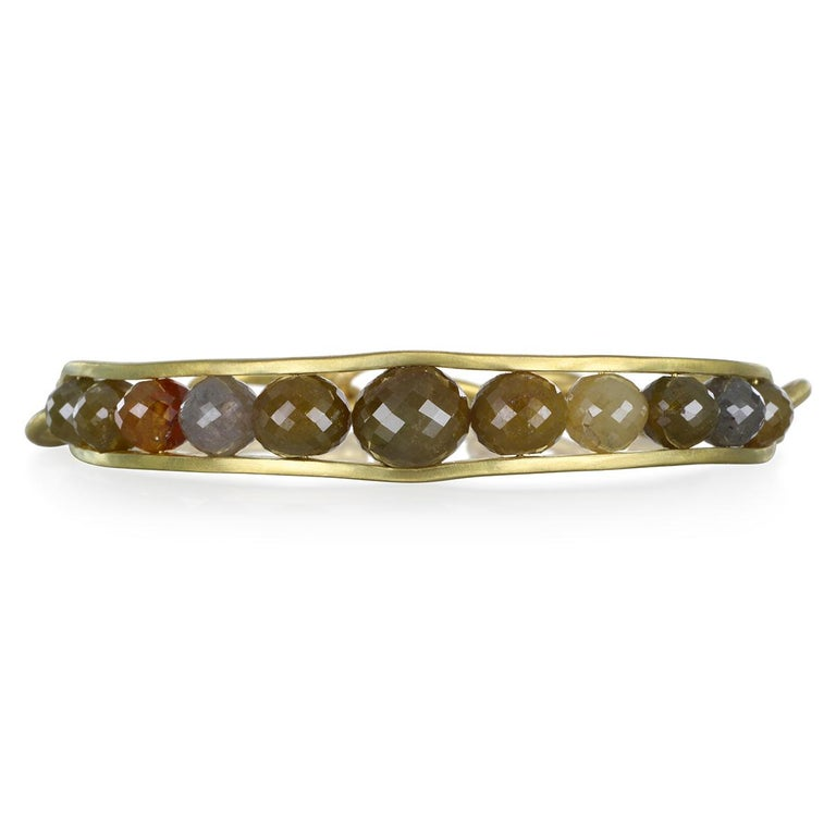 One Of A Kind - Faye Kim's 18 Karat Gold Raw Diamond Bead Cuff / Bangle has both style and substance.  Handcrafted with multicolored raw diamond beads, gently graduated in size.  Finished with gold links for a comfortable fit  Diamonds: Natural