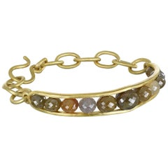 Faye Kim 18 Karat Gold Raw Diamond Bead Cuff Bangle