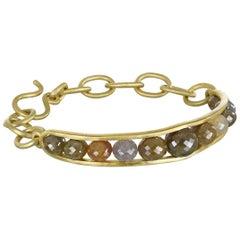 Faye Kim 18 Karat Gold Diamond Bead Link Bangle