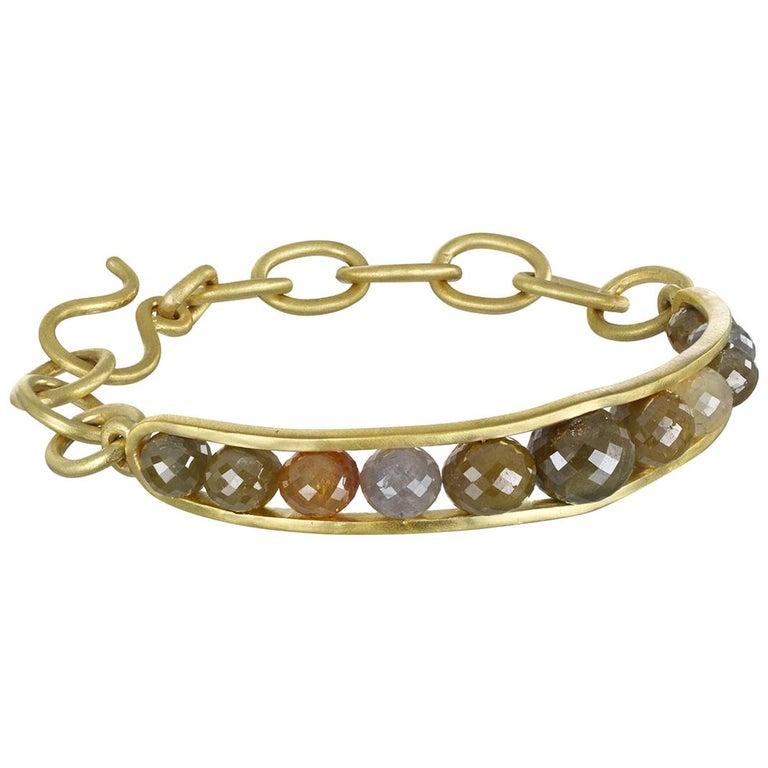 Faye Kim 18 Karat Gold Raw Diamond Bead Cuff Bangle For Sale