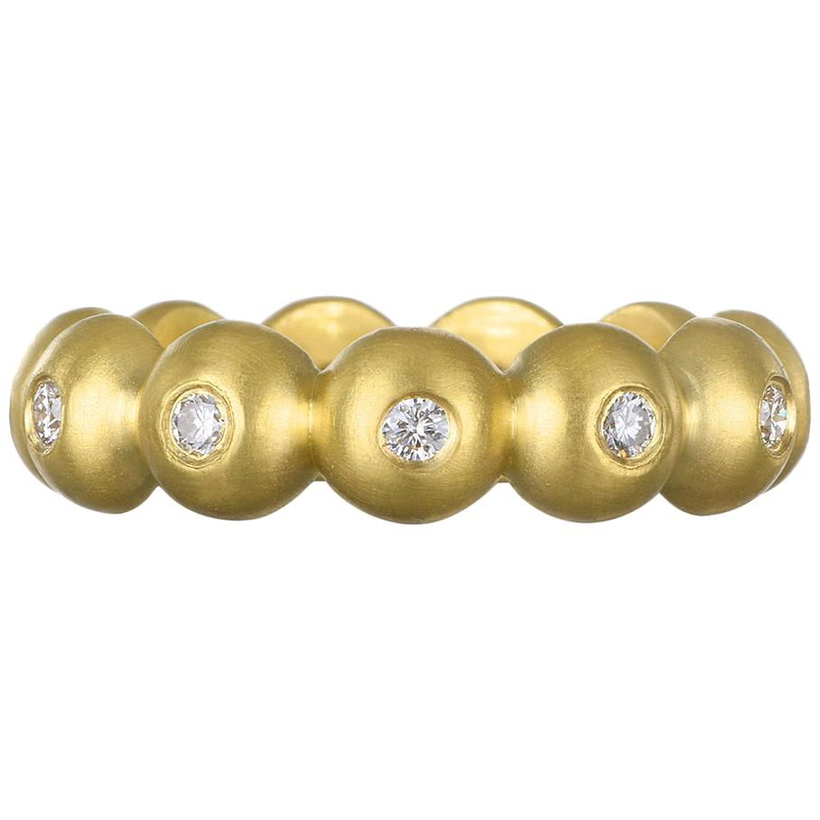 Faye Kim 18 Karat Gold Diamond Bead Stack Ring