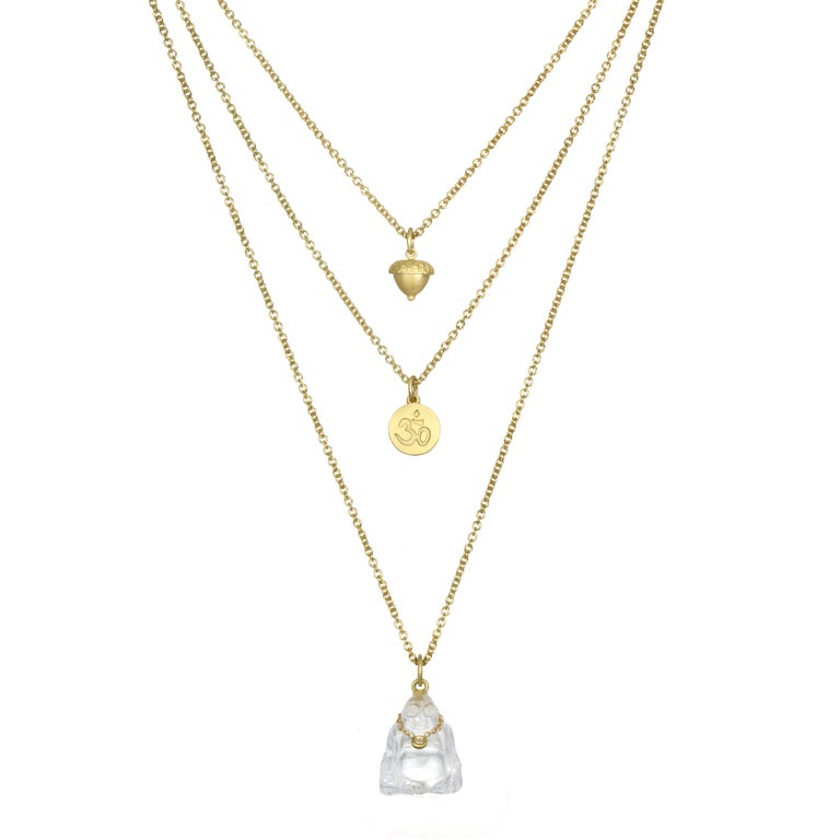A symbol of longevity, enlightenment and love our Crystal buddha pendant is complete with its very own diamond necklace. It is sure to add a distinctive sparkle in your life!  Sold on 16-18