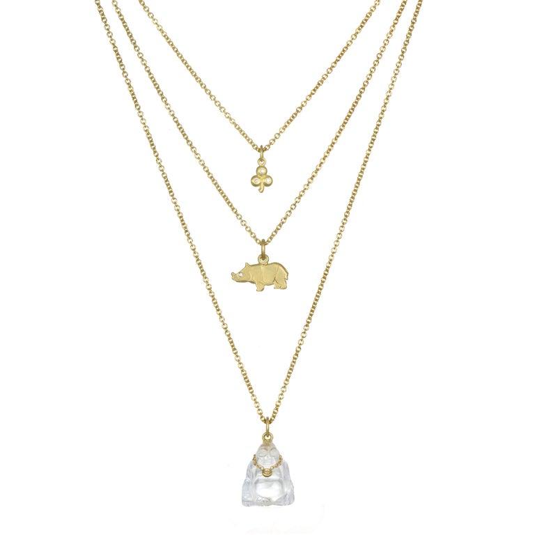 Modern Faye Kim 18K Gold, Diamond and Crystal Buddha Necklace For Sale