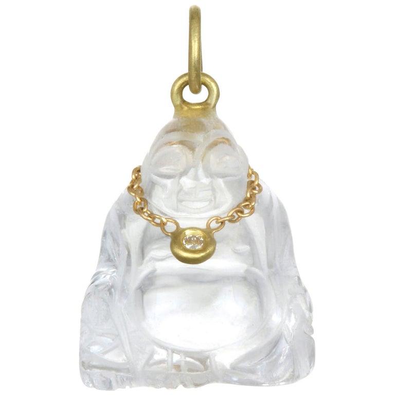 Faye Kim 18K Gold, Diamond and Crystal Buddha Necklace For Sale