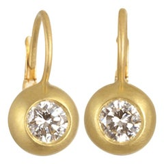 Faye Kim 18 Karat Gold Diamond Dome Lever Back Earrings