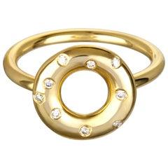 Faye Kim 18 Karat Gold Diamond Gold Lifesaver Ring