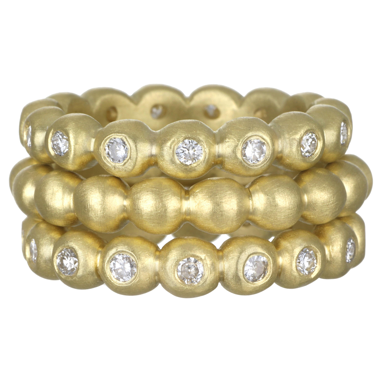Faye Kim 18 Karat Gold Diamond Granulation Bead Stack Rings