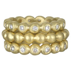 Faye Kim 18 Karat Gold Diamond Granulation Bead Stack Rings