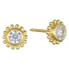 Faye Kim 18 Karat Gold Diamond Granulation Stud Earrings