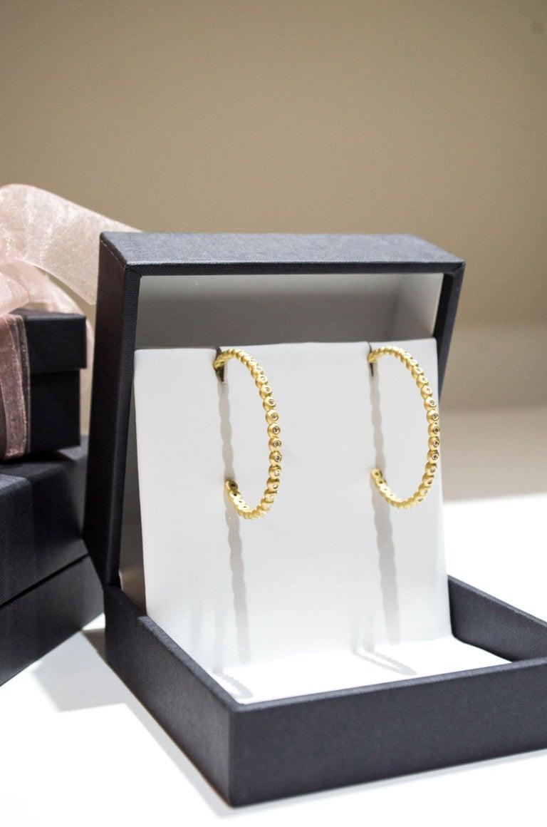 Round Cut Faye Kim 18 Karat Gold Diamond Hoop Earrings For Sale