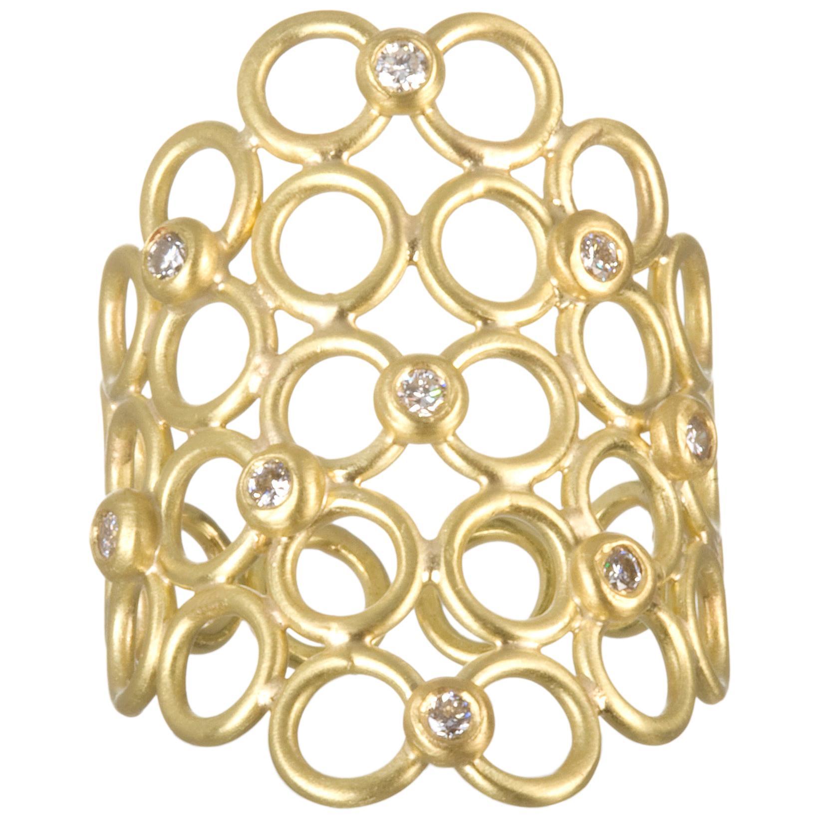 Faye Kim 18 Karat Gold Diamond Mesh Cocktail Ring