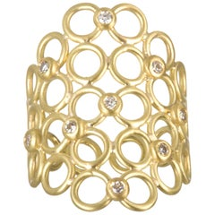 Faye Kim 18 Karat Gold Diamond Mesh Cocktail Ring