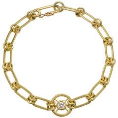 Faye Kim 18 Karat Gold Diamond Paperclip Link Bracelet