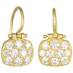Faye Kim 18 Karat Gold Diamond Pave Chiclet Hinged Earrings