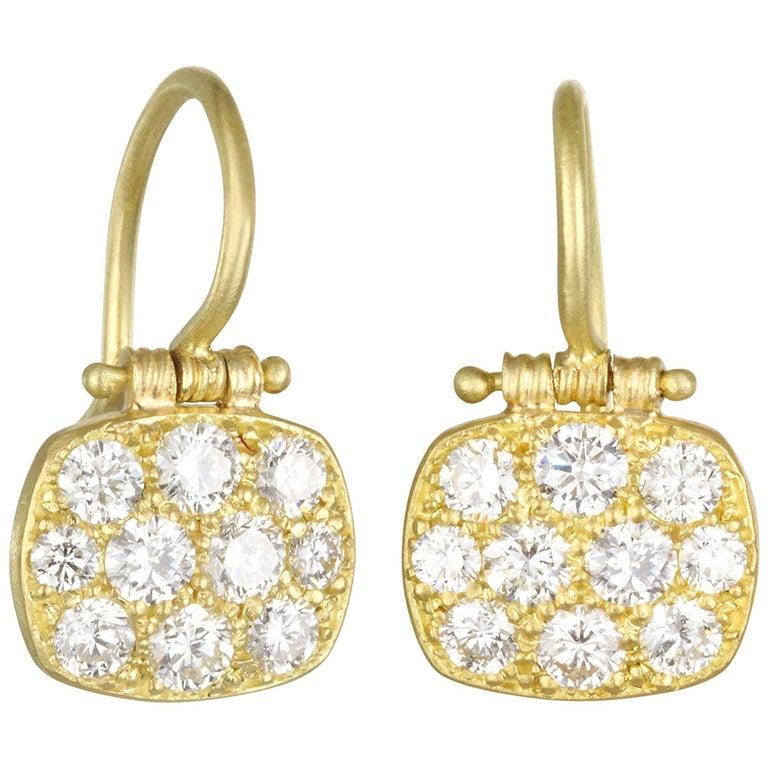 Faye Kim 18 Karat Gold Diamond Pave Chiclet Hinged Earrings For Sale