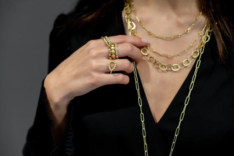 Contemporary Faye Kim 18 Karat Gold Diamond and Pink Tourmaline Eternity Band Ring For Sale