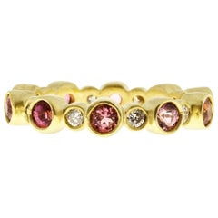 Faye Kim 18 Karat Gold Diamond and Pink Tourmaline Eternity Band Ring