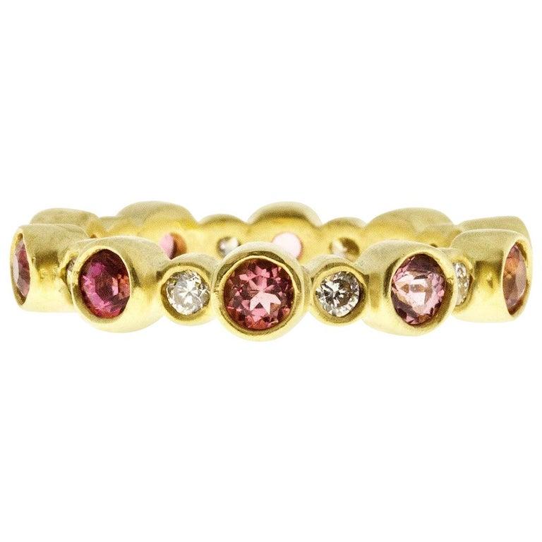 Faye Kim 18 Karat Gold Diamond and Pink Tourmaline Eternity Band Ring For Sale