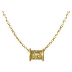 Faye Kim 18 Karat Gold Diamond Spool Necklace