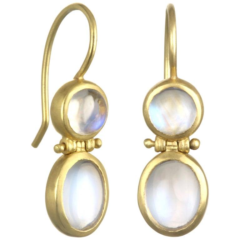 Faye Kim 18 Karat Gold Double Ceylon Moonstone Hinged Earrings For Sale