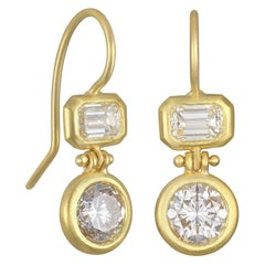 Faye Kim 18 Karat Gold Double Diamond Hinged Earrings
