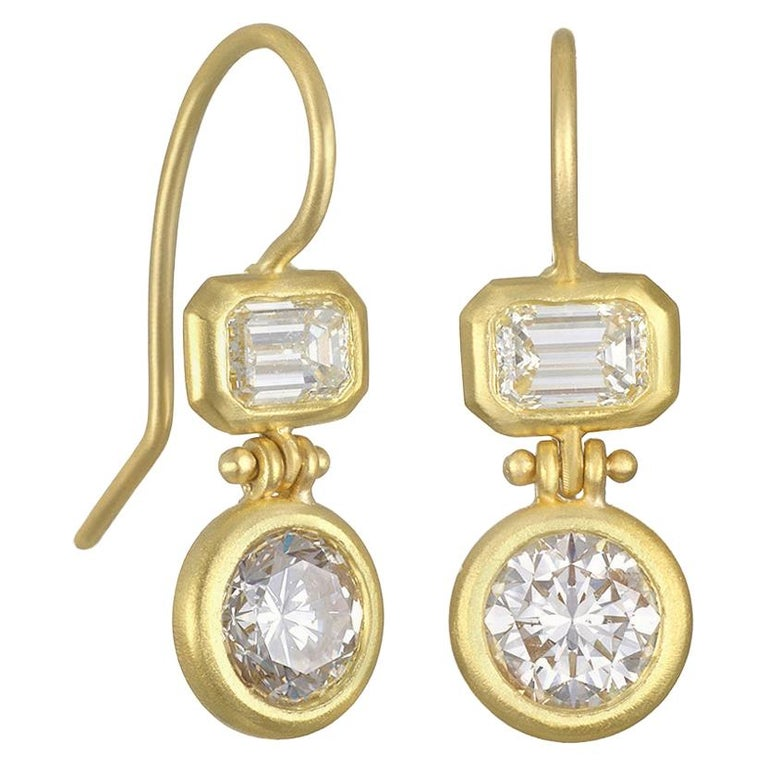 Faye Kim 18 Karat Gold Double Diamond Hinged Earrings For Sale