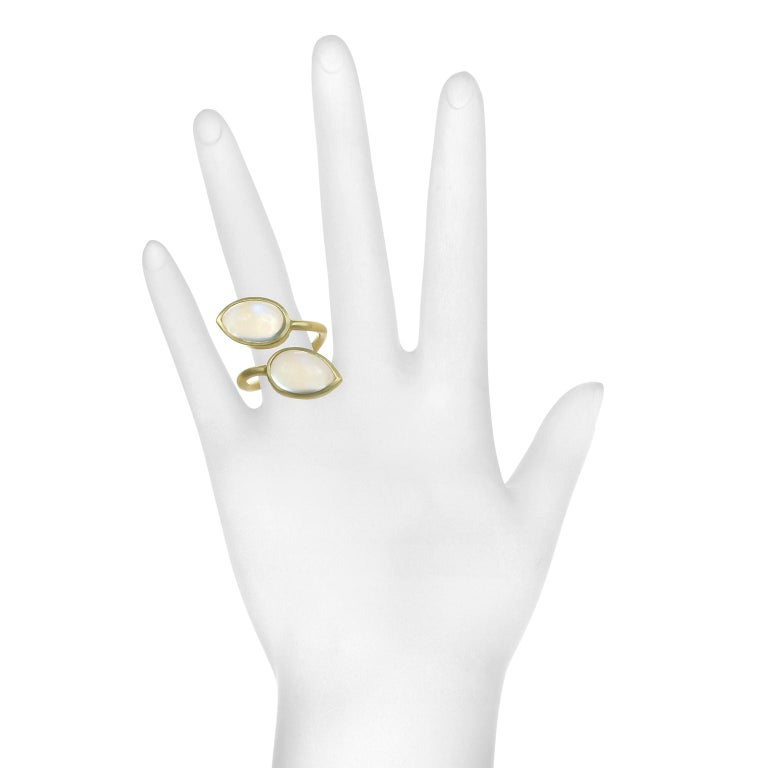 Faye Kim 18 Karat Gold Double Pear Shape Moonstone Bezel Ring 3