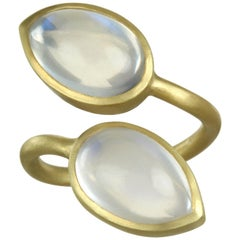 Faye Kim 18 Karat Gold Double Pear Shape Moonstone Bezel Ring