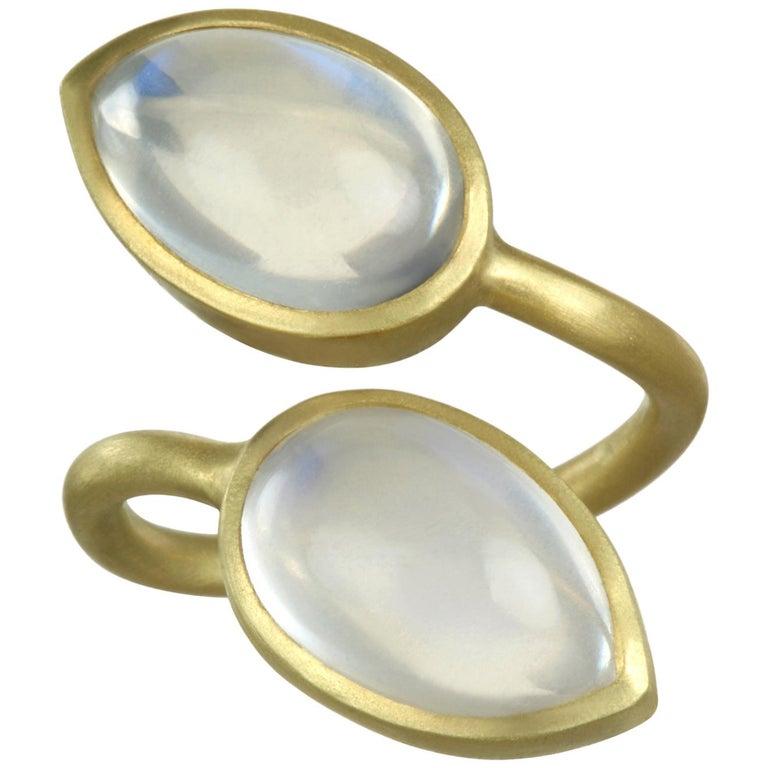 Faye Kim 18 Karat Gold Double Pear Shape Moonstone Bezel Ring 1