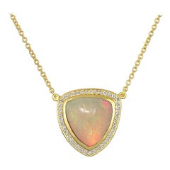 Faye Kim 18 Karat Gold Ethiopian Opal Pendant Necklace with Diamond Halo