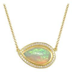 Faye Kim 18 Karat Gold Ethiopian Opal Pendant Necklace with Diamond Halo