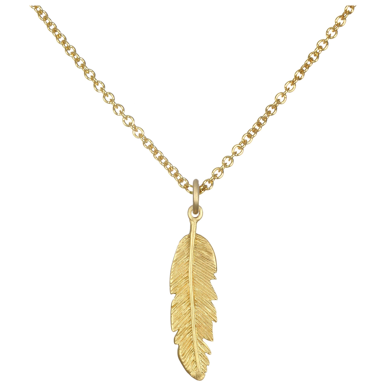 Faye Kim 18 Karat Gold Feather Charm Necklace