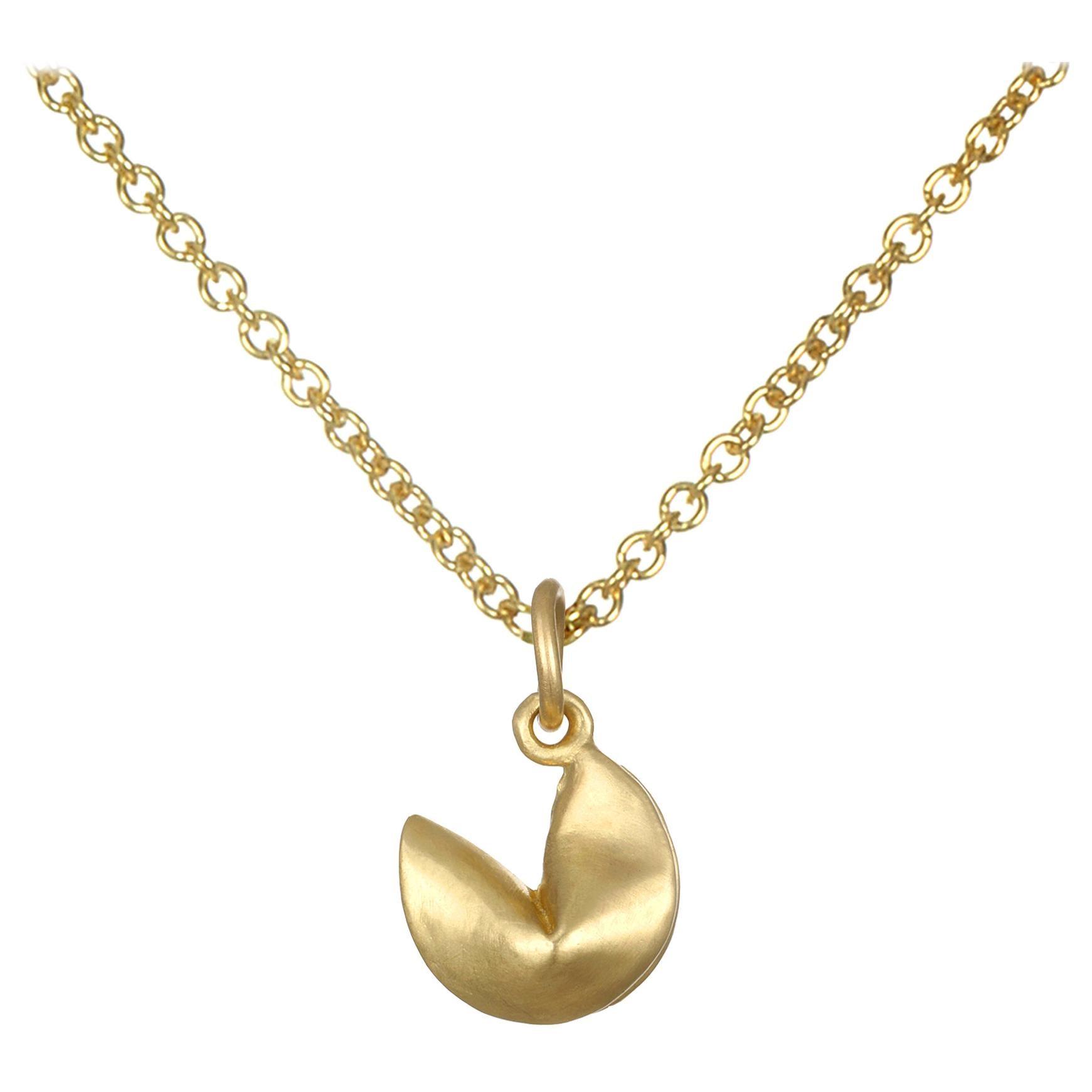 Faye Kim 18 Karat Gold Fortune Cookie Necklace